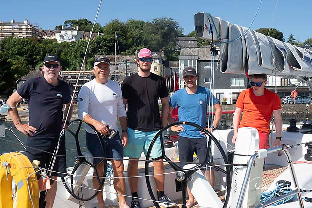 The Dublin Bay Grand Soleil 34 Justina with skipper John Treanor (left) and among the crew Adam Winkelmann (Second from left) the organiser of June's Dun Laoghaire to Dingle Race Photo: Bob Bateman