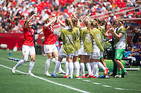 OTTAWA, Canada - Sunday June 7, 2015: Norway celebrates a goal by Isabell Herlovsen.  Norway defeats Thailand 4-0 in the opening match of Group B at the Women's World Cup Canada 2015 at Lansdowne Stadium in Ottawa, Ontario, Canada.