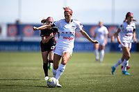HERRIMAN, UT - JULY 1: Kayla Sharples #28 of Chicago Red Stars passes the ball during a game between Chicago Red Stars and Portland Thorns FC at Zions Bank Stadium on July 1, 2020 in Herriman, Utah.
