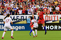 PHILADELPHIA, PA - AUGUST 29: Tierna Davidson #12 of the United States heads the ball during a game between Portugal and USWNT at Lincoln Financial Field on August 29, 2019 in Philadelphia, PA.