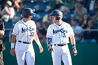 Everett AquaSox teammates Cal Raleigh (33) and Troy Dixon (34) talk after scoring runs during a Northwest League game against the Tri-City Dust Devils at Everett Memorial Stadium on September 3, 2018 in Everett, Washington. The Everett AquaSox defeated the Tri-City Dust Devils by a score of 8-3. (Zachary Lucy/Four Seam Images)