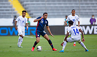 GUADALAJARA, MEXICO - MARCH 28: Hassani Dotson #18 of the United States moves with the ball during a game between Honduras and USMNT U-23 at Estadio Jalisco on March 28, 2021 in Guadalajara, Mexico.