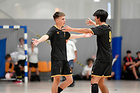 Max Falconer of Wellington College celebrates with team mates during the NZ Secondary Schools Senior Boys Final between Wellington College and Tauranga Boys' College at ASB Sports Centre, Wellington on 26 March 2021.<br /> Copyright photo: Masanori Udagawa /  www.photosport.nz