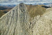 Aerial view of a mountain ridge in the Davidson Mountains of the Brooks Range mountains, Arctic National Wildlife Refuge, Alaska