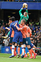 Everton's Jordan Pickford makes a save from a Chelsea corner<br /> <br /> Photographer Stephanie Meek/CameraSport<br /> <br /> The Premier League - Chelsea v Everton - Sunday 8th March 2020 - Stamford Bridge - London<br /> <br /> World Copyright © 2020 CameraSport. All rights reserved. 43 Linden Ave. Countesthorpe. Leicester. England. LE8 5PG - Tel: +44 (0) 116 277 4147 - admin@camerasport.com - www.camerasport.com