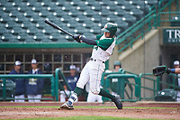 Fort Wayne TinCaps Justin Lopez (14) breaks his bat during a Midwest League game against the Kane County Cougars at Parkview Field on May 1, 2019 in Fort Wayne, Indiana. Fort Wayne defeated Kane County 10-4. (Zachary Lucy/Four Seam Images)