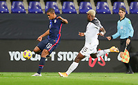 WIENER NEUSTADT, AUSTRIA - NOVEMBER 16: Reggie Cannon #20 of the United States crosses over a ball during a game between Panama and USMNT at Stadion Wiener Neustadt on November 16, 2020 in Wiener Neustadt, Austria.