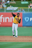 Sherman Johnson (5) of the Salt Lake Bees during the game against the New Orleans Baby Cakes at Smith's Ballpark on June 11, 2018 in Salt Lake City, Utah. New Orleans defeated Salt Lake 6-5.  (Stephen Smith/Four Seam Images)