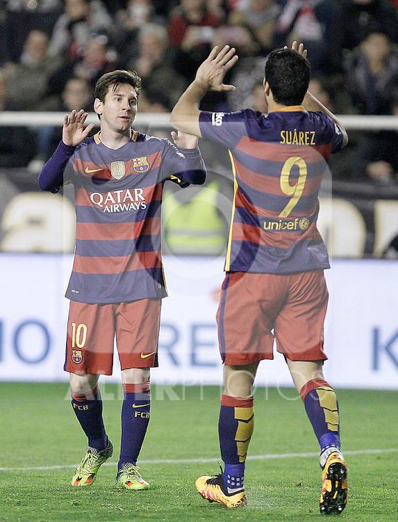 FC Barcelona's Leo Messi (l) and Luis Suarez celebrate goal during La Liga match. March 3,2016. (ALTERPHOTOS/Acero)