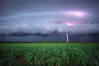 A shelf cloud from a severe thunderstorm approaches an agricultural field near Childress Texas in June. Such storms can bring copious amounts of rain,large hail and high winds.
