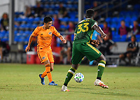 LAKE BUENA VISTA, FL - JULY 18: Memo Rodríguez #8 of the Houston Dynamo passes the ball during a game between Houston Dynamo and Portland Timbers at ESPN Wide World of Sports on July 18, 2020 in Lake Buena Vista, Florida.