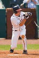 Phil Gosselin #5 of the Virginia Cavaliers squares to bunt against the Miami Hurricanes at the 2010 ACC Baseball Tournament at NewBridge Bank Park May 29, 2010, in Greensboro, North Carolina.  The Cavaliers defeated the Hurricanes 12-8.  Photo by Brian Westerholt / Four Seam Images