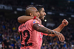 Luis Suarez of FC Barcelona (R) celebrates his goal with Arturo Vidal (L) during the La Liga 2018-19 match between RDC Espanyol and FC Barcelona at Camp Nou on 08 December 2018 in Barcelona, Spain. Photo by Vicens Gimenez / Power Sport Images