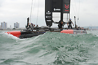 Oracle Team USA catch their breathe at the end of race 3 during day two of the Louis Vuitton America's Cup World Series racing, Portsmouth, United Kingdom. (Photo by Rob Munro/Stewart Communications)