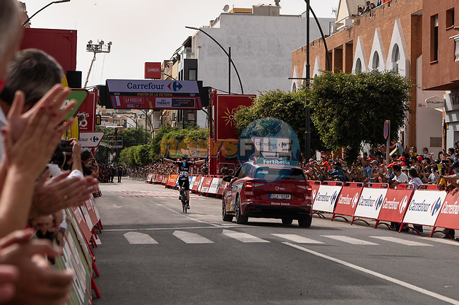 Michael Storer (AUS) Team DSM wins Stage 10 of La Vuelta d'Espana 2021, running 189km from Roquetas de Mar to Rincón de la Victoria, Spain. 24th August 2021.     <br /> Picture: Cxcling | Cyclefile<br /> <br /> All photos usage must carry mandatory copyright credit (© Cyclefile | Cxcling)