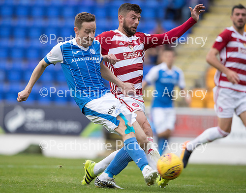 St Johnstone v Hamilton Accies…23.09.17…  McDiarmid Park… SPFL<br />Steven MacLeans shot is saved by Martin Woods<br />Picture by Graeme Hart. <br />Copyright Perthshire Picture Agency<br />Tel: 01738 623350  Mobile: 07990 594431
