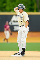 Mac Williamson #7 of the Wake Forest Demon Deacons stands on second base after hitting a double against the Virginia Tech Hoikies at Wake Forest Baseball Park on April 21, 2012 in Winston-Salem, North Carolina.  The Demon Deacons defeated the Hokies 8-6.  (Brian Westerholt/Four Seam Images)