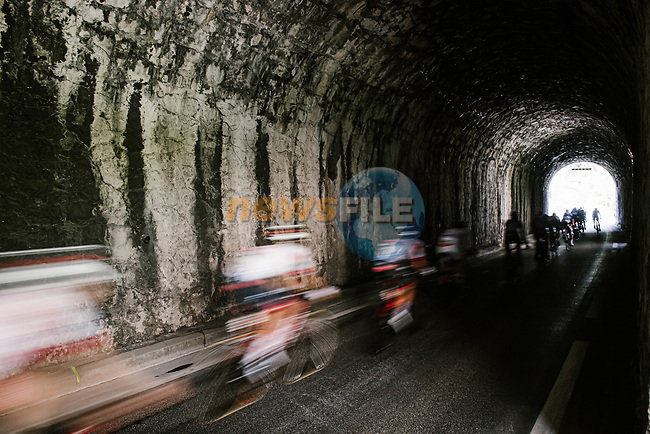 The peloton enter a tunnel during Stage 5 of Tour de France 2020, running 183km from Gap to Privas, France. 2nd September 2020.<br /> Picture: ASO/Pauline Ballet | Cyclefile<br /> All photos usage must carry mandatory copyright credit (© Cyclefile | ASO/Pauline Ballet)