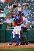 Buffalo Bisons catcher Alex Monsalve (10) during a game against the Indianapolis Indians on August 17, 2017 at Coca-Cola Field in Buffalo, New York.  Buffalo defeated Indianapolis 4-1.  (Mike Janes/Four Seam Images)