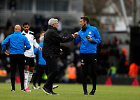 23rd May 2021; Craven Cottage, London, England; English Premier League Football, Fulham versus Newcastle United; Newcastle United Manager Steve Bruce with Newcastle United Head of Medical Dr Paul Catterson after full time