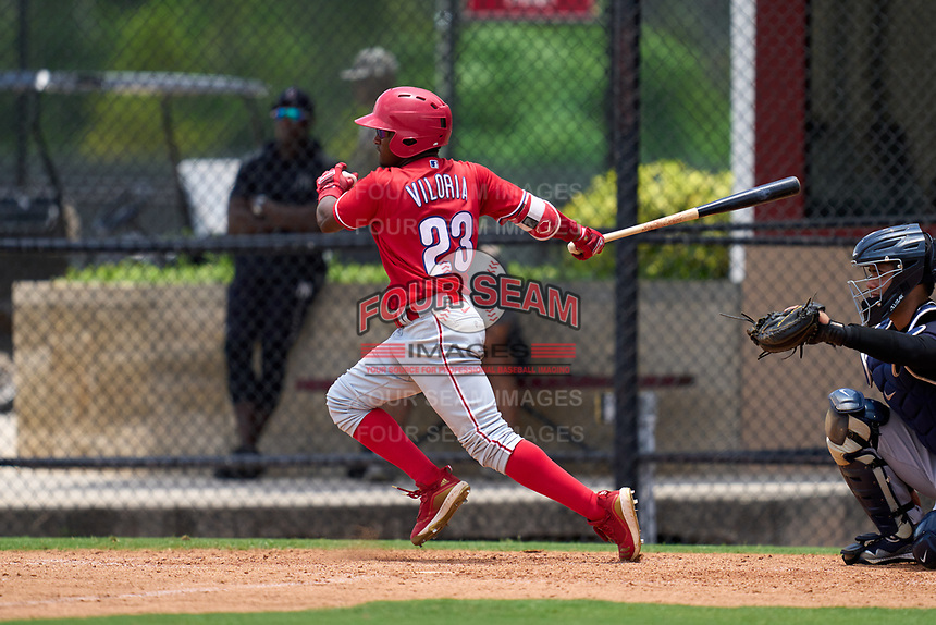 Philadelphia Phillies Uziel Viloria (23) bats during an Extended Spring Training game against the New York Yankees on June 22, 2021 at the Carpenter Complex in Clearwater, Florida. (Mike Janes/Four Seam Images)