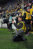 Photographer Simon Watts during the Super Rugby semifinal match between the Hurricanes and Chiefs at Westpac Stadium, Wellington, New Zealand on Saturday, 30 July 2016. Photo: Dave Lintott / lintottphoto.co.nz