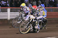 Heat 17: Greg Hancock (red), Jason Crump (yellow) and Lewis Bridger (blue) - Lee Richardson Memorial Speedway Meeting at Arena Essex Raceway, Purfleet - 28/09/12 - MANDATORY CREDIT: Gavin Ellis/TGSPHOTO - Self billing applies where appropriate - 0845 094 6026 - contact@tgsphoto.co.uk - NO UNPAID USE.