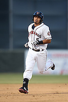 Rio Ruiz #5 of the Lancaster JetHawks runs the bases during a game against the San Jose Giants at The Hanger on May 3, 2014 in Lancaster, California. San Jose defeated Lancaster, 5-4. (Larry Goren/Four Seam Images)