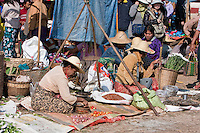 """Myanmar, Burma.  Scale on a Tripod, Vendor Waits to Sell Tomatoes and Onions, """"Five-Day"""" Market, Inle Lake, Shan State."""