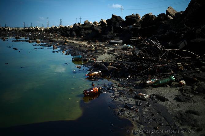 Oli pollution is seen contaminating a lake in Balakhani, a suburb of Baku, Azerbaijan.