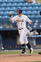 Asheville Tourists shortstop Brendon Rodgers (1) rounds the bases after hitting a home run during game one of a double header against the Charleston RiverDogs at McCormick Field on July 8, 2016 in Asheville, North Carolina. The RiverDogs defeated the Tourists 10-4 in game one. (Tony Farlow/Four Seam Images)
