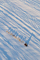 Nicolis Petit on the Yentna river cast shadows on the river ice a few hours after leaving the re-start line in Willow during the 2011 Iditarod.