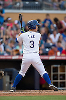 Hak-Ju Lee (3) of the Durham Bulls at bat against the Louisville Bats at Durham Bulls Athletic Park on August 9, 2015 in Durham, North Carolina.  The Bulls defeated the Bats 9-0.  (Brian Westerholt/Four Seam Images)