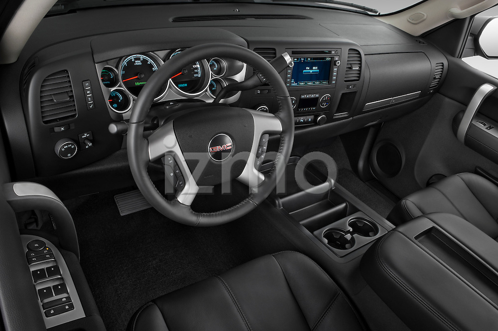 High angle dashboard view of a 2009 GMC Sierra Hybrid