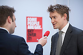 A journalist interviews Labour Shadow Education Minister Tristram Hunt MP on a visit to Little Ilford School in Newham, London, to discuss the school's work with Stonewall on its campaign against homophobic bullying.