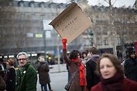 Demonstrators gather at Place de la Republique following the massacre at Charlie Hebdo in Paris where masked gunmen killed 12 people. Paris, France, (Jan. 7, 2015).
