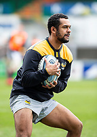 20th February 2021; Welford Road Stadium, Leicester, Midlands, England; Premiership Rugby, Leicester Tigers versus Wasps; Zach Kibirige of Wasps catching a ball during the warm up