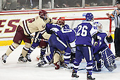 - The visiting College of the Holy Cross Crusaders defeated the Boston College Eagles 5-4 on Friday, November 29, 2013, at Kelley Rink in Conte Forum in Chestnut Hill, Massachusetts.