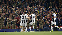 Calcio, Champions League: finale Juventus vs Real Madrid. Cardiff, Millennium Stadium, 3 giugno 2017.<br /> <br /> during the Champions League final match between Juventus' Mario Mandzukic, second from left, celebrates with his teammates Giorgio Chiellini, left, Leonardo Bonucci, second from right, and Sami Khedira, after scoring Juventus and Real Madrid at Cardiff's Millennium Stadium, Wales, June 3, 2017. <br /> UPDATE IMAGES PRESS/Isabella Bonotto
