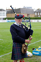The piper seen during the Championship Cup match between London Scottish Football Club and Nottingham Rugby at Richmond Athletic Ground, Richmond, United Kingdom on 28 September 2019. Photo by Carlton Myrie / PRiME Media Images