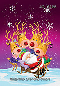 Interlitho-Fabrizio, Comics, CHRISTMAS ANIMALS, WEIHNACHTEN TIERE, NAVIDAD ANIMALES, paintings+++++,reindeer; santa,KL6199,#xa#