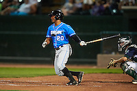 Hudson Valley Renegades outfielder Garrett Whitley (20) at bat during a game against the Vermont Lake Monsters on September 3, 2015 at Centennial Field in Burlington, Vermont.  Vermont defeated Hudson Valley 4-1.  (Mike Janes/Four Seam Images)