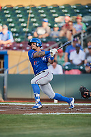 Christian Lopes (11) of the Round Rock Express bats against the Omaha Storm Chasers at Werner Park on May 27, 2018 in Papillion , Nebraska. Round Rock defeated Omaha 8-3. (Stephen Smith/Four Seam Images)