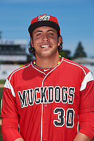 Batavia Muckdogs pitcher Cecil Tanner (30) poses for a photo before the teams first practice on June 15, 2016 at Dwyer Stadium in Batavia, New York.  (Mike Janes/Four Seam Images)