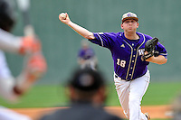 Starting pitcher B.J. Nobles (18) of Western Carolina pitches against Mercer in the final game of the SoCon Tournament championship series on Sunday, May 29, 2016, at Fluor Field at the West End in Greenville, South Carolina. (Tom Priddy/Four Seam Images)