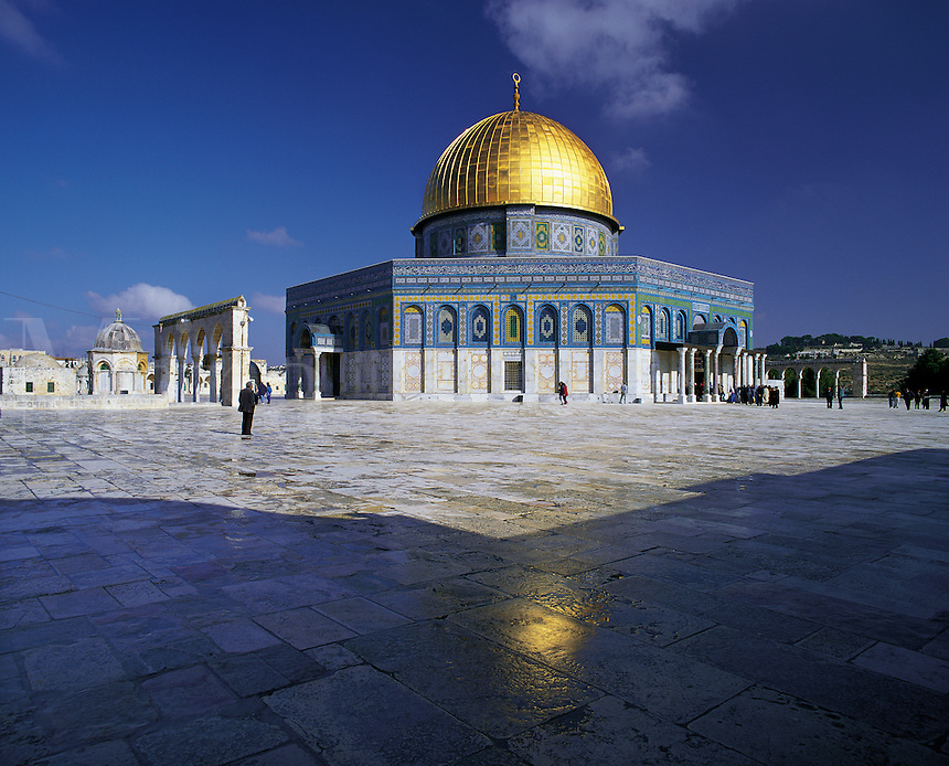 The Dome of the Rock mosque, known in Arabic as Al Quds (The Holy) with its golden dome gleaming under a deep blue sky, Jerusalem, Israel