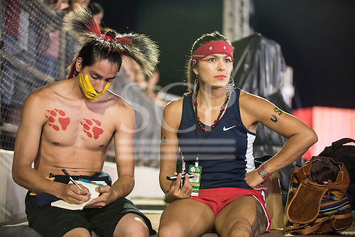 Native American contestants from the USA rest between events during the International Indigenous Games, in the city of Palmas, Tocantins State, Brazil. Photo © Sue Cunningham, pictures@scphotographic.com 27th October 2015