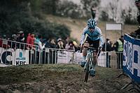 Eli Iserbyt (BEL/Marlux-Napoleon Games) leading the race early on<br /> <br /> U23 race<br /> <br /> UCI cyclocross World Cup Koksijde / Belgium 2017
