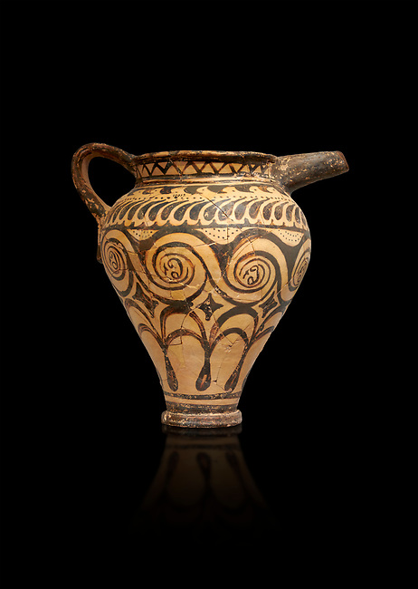 Minoan clay decorated ewer jug, Speial Palatial Tradition , Knossos Palace 1500-1450 BC BC, Heraklion Archaeological  Museum, black background.
