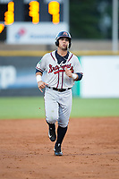 Jeffrey Ramos (13) of the Danville Braves jogs towards third base during the game against the Burlington Royals at Burlington Athletic Stadium on August 12, 2017 in Burlington, North Carolina.  The Braves defeated the Royals 5-3.  (Brian Westerholt/Four Seam Images)